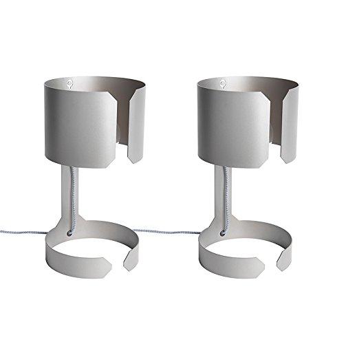 QAZQA 2er Set Design Tischleuchte/Tischlampe/Lampe/Leuchten stahl/nickel matt matt - Waltz/Innenbeleuchtung/Wohnzimmerlampe LED geeignet E27 Max. 2 x 60 Watt