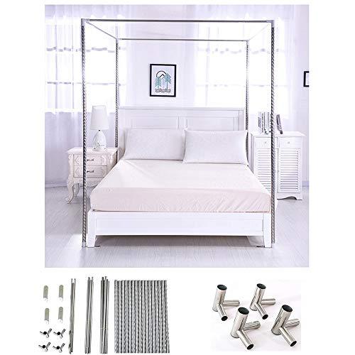 HOXMOMA Edelstahl Bett Baldachin Rahmen, Moskitonetzhalterung 4 Ecken Bettpfosten, Verdickter Spiralmuster-Bettständer mit Metall-Tee-Verbindern, Fit für alle Größen Bett,24mm,2×2.2m Bed