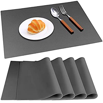 IVYOUNG Large Reusable Silicone Placemats for Dining Kitchen Table Heat-Resistant Baking Mat Countertop Protector, Non-Slip Flexible Washable Dining Mats(Set of 4,Dark Grey)
