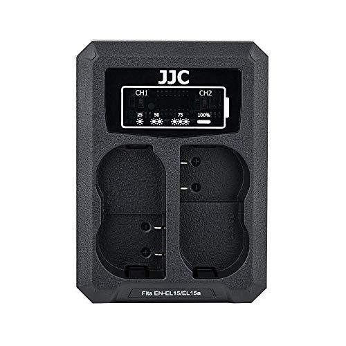 JJC Cargador de Batería Dual USB para Nikon Z7II Z7 Z6II Z6 D850 D750 D610 D600 D500 D7500 D7200 D7100 D7000 D810A D810 D800E D800 Cámaras Reemplaza Nikon EN-EL15/EN-EL15a/EN-EL15b