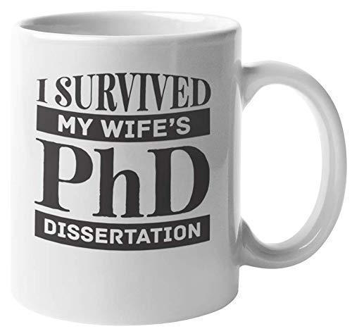 N\A Taza de café y té de tesis Doctoral de I Survived My Wife para Marido y Hombre