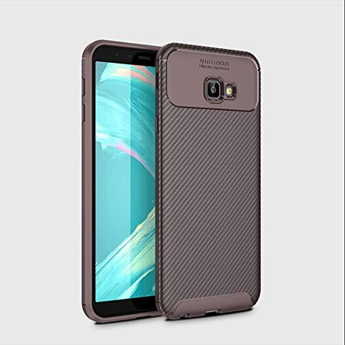 SZCINSEN Funda para Samsung Galaxy J4 Plus, resistente a los arañazos, fibra de carbono ultrafina, resistente a los golpes, carcasa protectora de cuerpo completo (color marrón