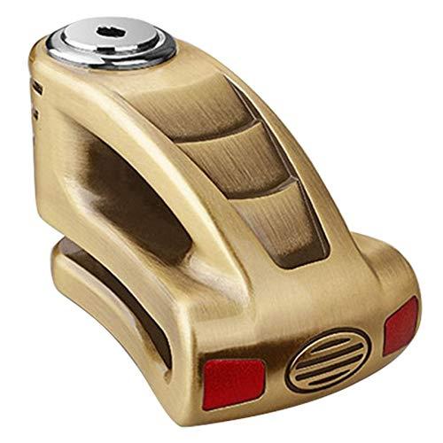Seguridad Bloqueo disc motocicleta Vespa antirrobo del rotor del freno de la motocicleta impermeable Candado de disco de freno de bloqueo Fácil de instalar (Color : Gold)