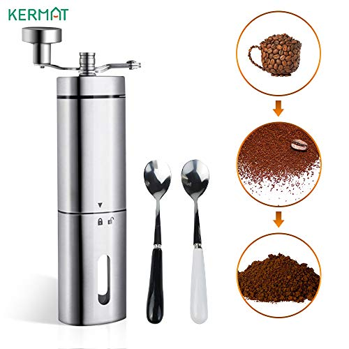 KERMAT Manual Coffee Grinder, Portable Stainless Steel Hand Coffee Grinder Triangular Appearance With Foldable Handle & Adjustable Setting for Coffee, Tea, Herbs and Spices