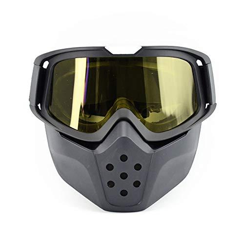 FHGH Gafas Desmontable Máscara del Moto Máscara del Moto Lente PC MáScara Desmontable Alta Banda EláStica Retro Gafas MáScara A Prueba Viento Gafas Motocross Gafas Montar Al Aire Libre