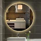 HZWLF Espejo de vanidad Espejo LED Redondo Baño montado en la Pared Dormitorio Espejo Iluminado Sin diámetro de Marco 19.7in-31.5in