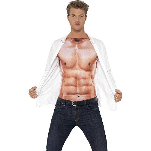 Amakando Adonis Körper Sixpack Muskelshirt Herren L 52/54 Sportler Muskelkostüm Muskel Kostüm Faschingskostüm Männer Shirt Durchtrainierter Oberkörper Muskelattrappe Oberteil