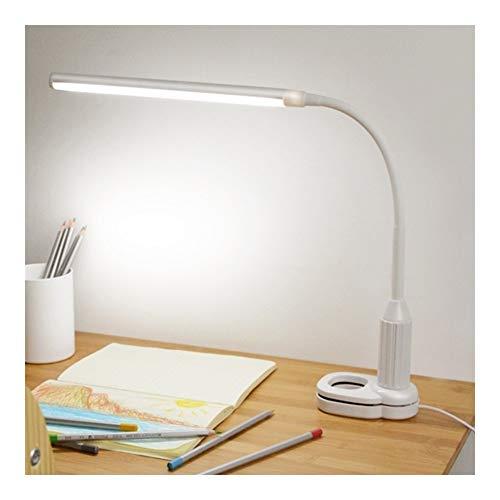 Lámpara de Mesa LED Protección for los ojos Pinza de sujeción Pinza Lámpara de mesa Lámpara regulable for escritorio Lámpara de escritorio Lámpara Escritorio (Body Color : White)