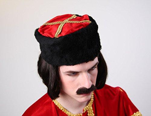 Generique - Chapeau cosaque Russe Noir et Rouge Adulte