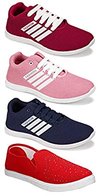 Shoefly Women's (5054-5048-5049-779) Multicolor Casual Sports Running Shoes (Set of 4 Pair)