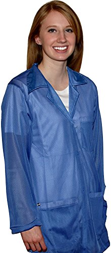 StaticTek Full Sleeve Snap Cuff ESD Jacket | Anti-Static Lab Coat | Certified Level 3 Static Shielding | Light Weight | ESD Smocks with High ESD Protection | 4Xlarge | Light Blue | TT_JKC8808SPLB