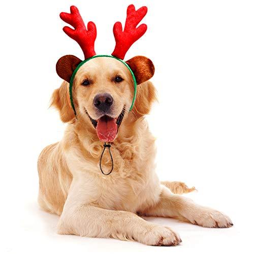 Toozey Weihnachten Rentiergeweih Stirnband,Weihnachten Hund Stirnband, Weihnachten Haustier Kostümzubehör für Hund Katze