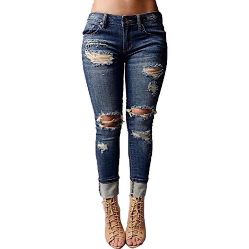 Femme Jeans Chic, YUYOUG Femmes Jeans Taille Mi-Haute Trou Skinny Denim Pantalon Slim Extensible Longueur Mollet Jeans
