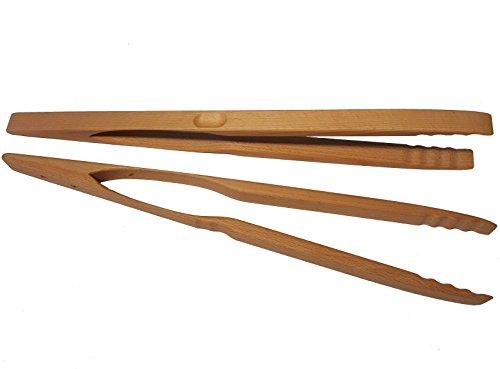 BierEx XXL Profi Grillzange aus Holz 46cm 460mm extra lang Lange Buche Holzgriff Buchenholz Mehrzweckzange Pfanne Grill Multizange Küchenzange auswählbar 32 40 46 60 74 80 88 cm Zangen