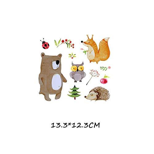 5×Parches de transferencia térmica Adecuado para chaquetas, camisetas, jeans, sombreros, ropa, estilo de combinación animal de oso zorro de dibujos animados