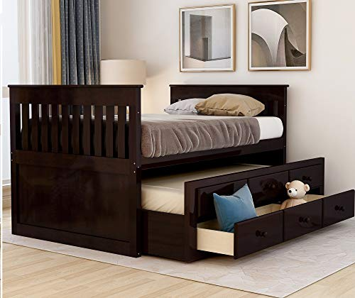 Twin Captain's Bed Storage daybed with Trundle and Drawers for Kids Guests (Espresso)
