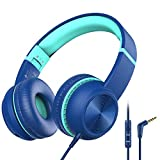 iClever HS17 Kids Headphones with Microphone for Virtual School, Share Port, Volume Limiter 85/94dB, Metal Headband, Foldable Wired HD Stereo Boys Headphones for iPad/Airplane/Laptop/Tablet, Blue