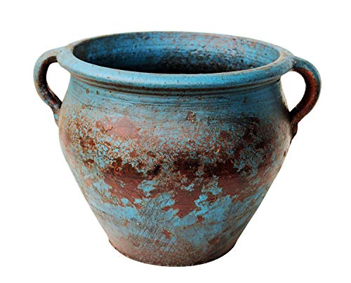 Egyptian Era Designed Earthen Ware Terra-Cotta Vessel/Planter with Looped Handles (Taller Distressed Blue)