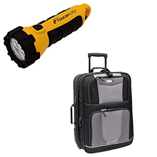 Toucan City LED Flashlight and Geoffrey Beene 21 in. Carry-On Suitcase GB224-21