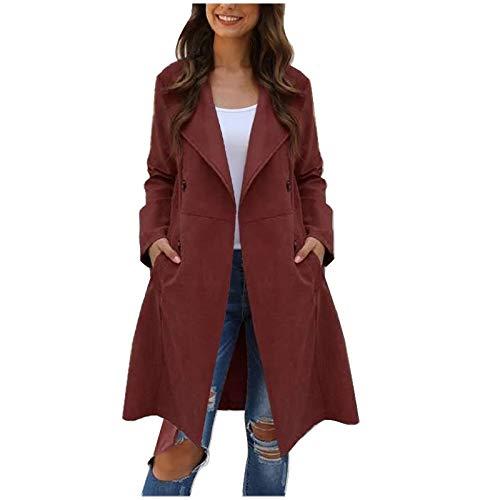 Windbreaker Damen Mittellange Trenchcoat Herbst Winter Langjacke Einfarbige Mittellange Windjacke Jacke, Rot, S