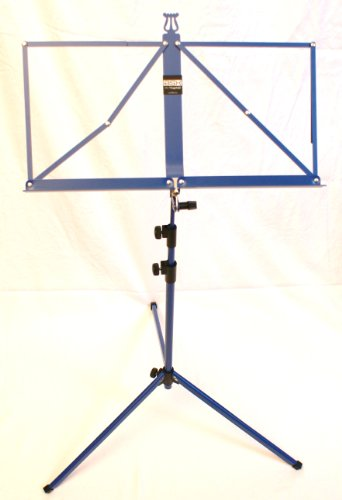 BASIX muziekstandaard blauw met praktische muziekklem - stabiele, mooi gevormde en inklapbare muziekstandaard - dubbel uittrekbaar
