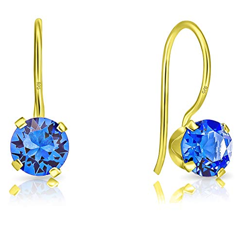 DTPsilver® Semental Pendientes/Aretes con Gancho - Plata de Ley 925 Chapado en Oro Amarillo con Cristal Swarovski® Elements Redondo - Diámetro: 6 mm - Color: Zafiro Azul