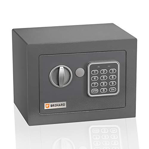 Caja fuerte electrónica Junior Brihard 17x23x17cm - Pequeña caja seguridad electrónica con código - Bloqueo digital de teclado, LED - Primera caja fuerte para niños con código