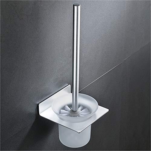 Wangel WC-Bürste und Halter WC-Garnitur ohne Bohren Wand, Patentierter Kleber + Selbstklebender Kleber, Aluminium und Glas, Matte Finish