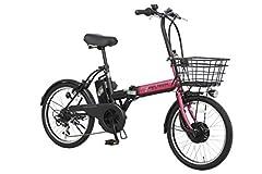 PELTECH(ペルテック) 折り畳み電動アシスト自転車 20インチ折り畳み外装6段変速 【簡易組立必要品】(TDN-208) (ピンク×ブラック)