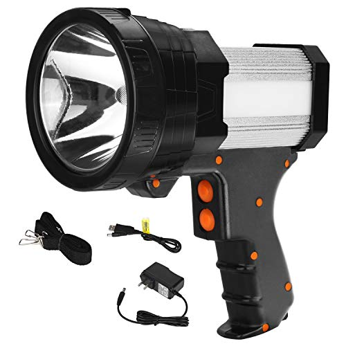 BIGSUN Super Bright Rechargeable Spotlight 6000 lumens Led Flashlight 9600mAh High Power Waterproof Handheld Searchlight with Camping Lantern and Power Bank function
