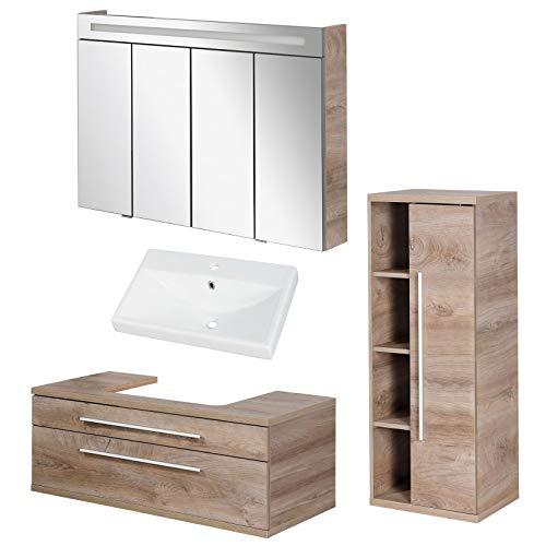 FACKELMANN braunes Badmöbel Set Stanford 4-TLG. mit Waschtisch Unterschrank hängend & Keramikbecken 110 cm & LED Spiegelschrank