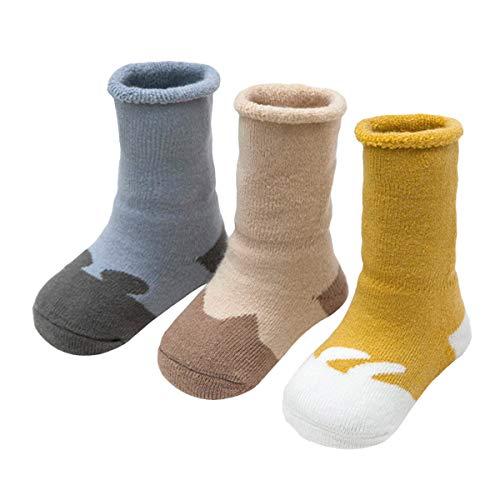 ANIMQUE Baby Winter Socken Dicke Cartoon Tiere 6-12 Monate Neugeborene Kleinkind Jungen Mädchen Baumwolle Söckchen Warm 3er Pack (DW-B)