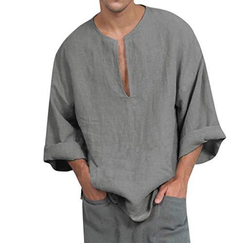 Kanpola Oversize Leinen Shirt MäNner V Ausschnitt Langarm Freizeit Hemd Ohne Kragen Vintage Lose Leinenhemd Oberhemden