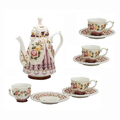 ErZhuiZi Juegos de Té de Porcelana Juego de Café para Adultos Taza y Platillo de Café Real Británico Juego de Té de la Tarde Bodas de Mujeres