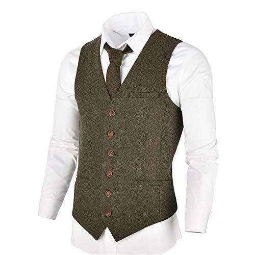 DSSJG Khaki Tweed Mens Vest Suit Slim Fit Single Breasted Herringbone Waistcoat Men Waist Coat for Man (Color : Khaki, Size : 3XL.)