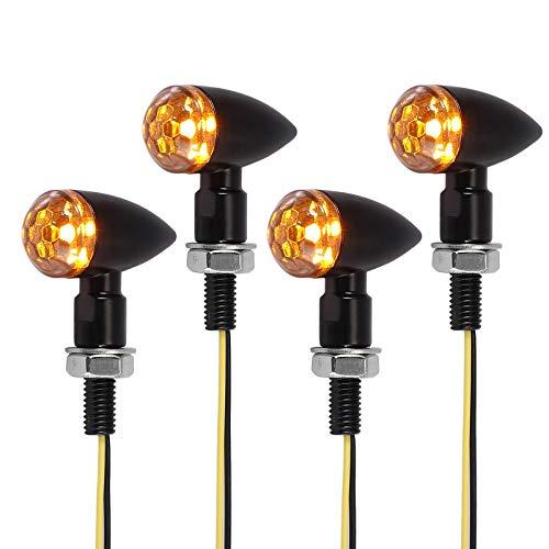 4 x Universal Micro Mini LED Motorrad Blinker Licht E-Marked Vorne Hinten Universal Glühlampe für Motorrad Fahrrad Signallicht Markierungsleuchten Lauflichter M8 Wasserdicht IP65 Bernstein Licht 12V