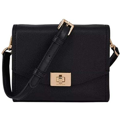 Made of Pebbled leather with Logo letter detail on hardware; Flap with turn lock closure; Back open pockets Open compartment with 1 card pocket; Adjustable cross body strap of 18-22 Inches drop Gold or silver hardware Measurements: Length: 7 x Height...