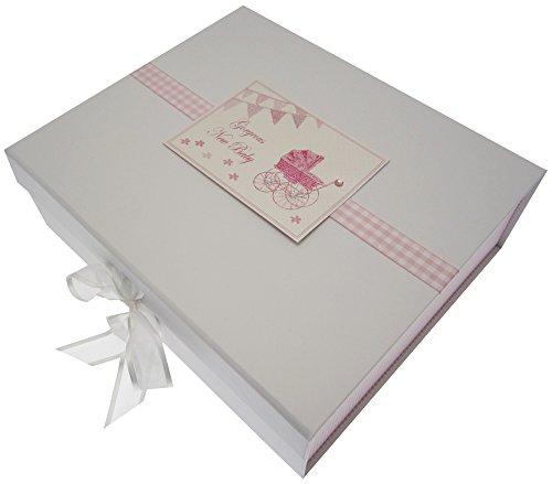 Nouveau bébé, grande boîte souvenir, motif landau rose & fanions