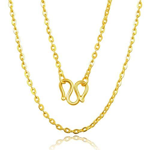 Catena a Forma di O Croce Collana da Donna Imitazione Gioielli in Oro Rame 24 carati Catena placcata Oro Accessori Catena clavicola Moda (Color : 45cm)