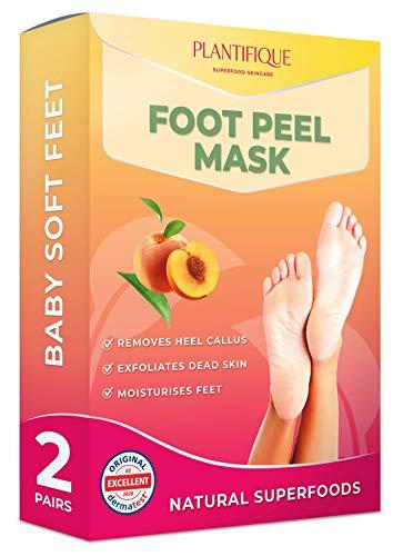 Dermatologisch Getestete Exfoliating Pfirsich Fußpeeling-Maske für Weiche Babyfüße von Plantifique - Wirksam bei Schwielen, Abgestorbener und Trockener Haut - Tief Rissige Fersen Reparat - 2 Paare