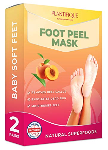 Dermatologically Tested – Peach Foot Peel Mask – 2 Pairs – Effective For Cracked Heels Repair, Remove Dead Skin, Callus & Dry Toe Skin – Baby Soft Feet – Exfoliating Peeling Natural Treatment