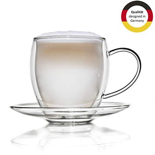 Creano Thermotasse, Extra Großes doppelwandiges Glas-mit Untersetzer, XXL Glastasse mit Henkel | 400ml im Geschenkkarton