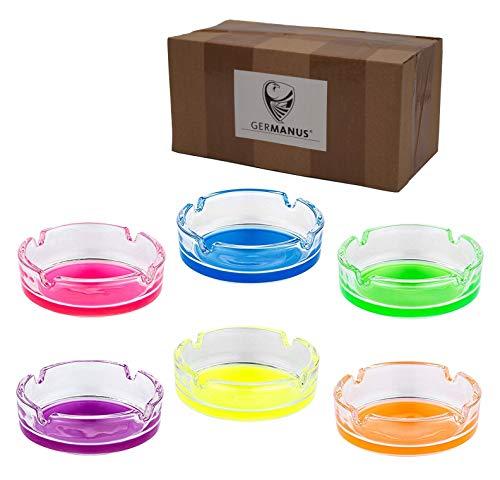 Imagen del producto GERMANUS 6 x Ceniceros de Cristal para Cigarrillos, Multicolor