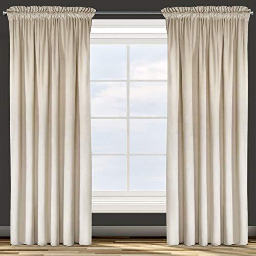 Design91 Samtvorhang Kräuselband Blickdichte Vorhänge Samt Velours 135x300 Samtvorhänge ROSA (beige)