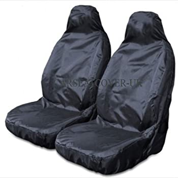 2 x Fronts Extra Heavy Duty Driver Passenger Black Pair Waterproof Car Front Seat Covers Protectors For Toyota Yaris