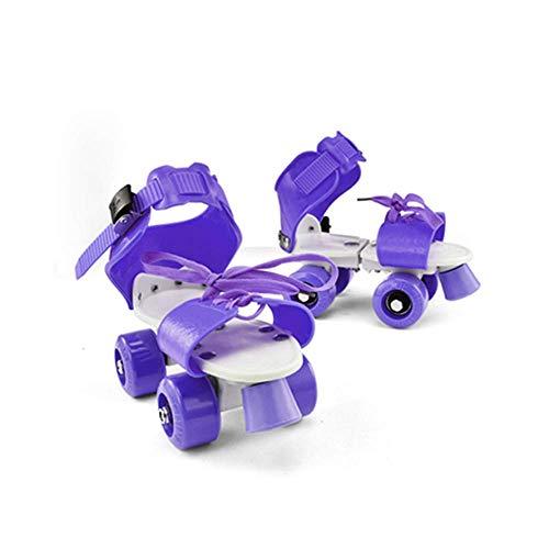 MY1MEY Single Wheel Sneaker Schuhe Kinder Rollschuhe, Quad verstellbare Skateschuhe Indoor/Outdoor Allrad Rollerblades, Mädchen und Jungen Einfache Rollschuhe, Lila
