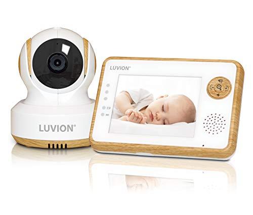LUVION ESSENTIAL LIMITED - Holzdesign Babyphone mit Kamera - 3.5 Zoll Farbdispay - Weiß und Holzfarbe