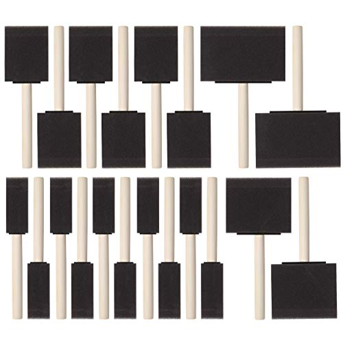 Bates- Foam Paint Brushes, Assorted Sizes, 20 Pcs