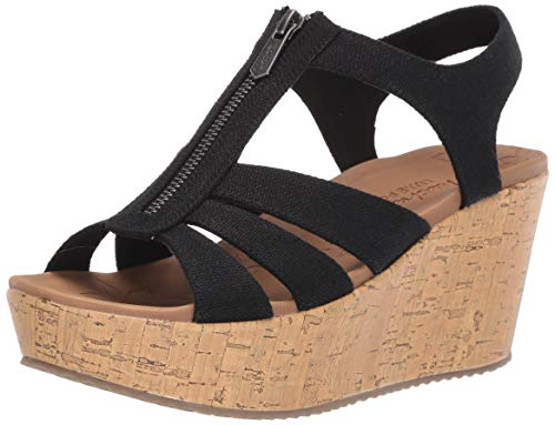 Skechers Women's BRIT-Zipper Wedge Quarter Strap Sandal, Black, 11 M US