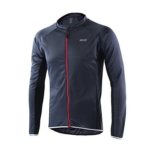Jersey de ciclismo de visibilidad extrema, de Arsuexo, de manga larga, ajuste Slim Fit, camiseta de MTB, 6022, primavera/verano, hombre, color gris, tamaño medium